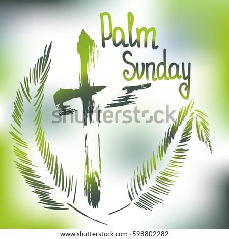 Handwritten Text Palm Sunday Vector Design