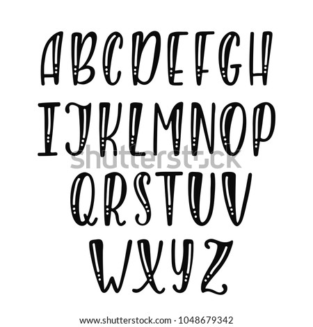Handwritten Vector Font Hand Lettering And Typography Alphabet Modern Brush Calligraphy Isolated On