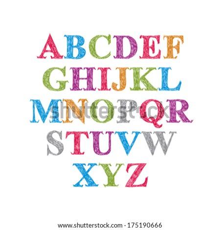 Handwritten vector script, alphabet letters set. - stock vector