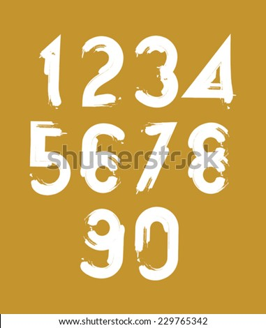 Handwritten white vector numbers isolated on yellow background, painted modern numbers set. - stock vector