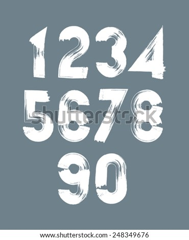 Handwritten white vector numbers, stylish numbers set drawn with ink brush. - stock vector