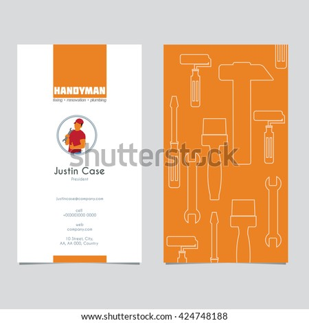 Handyman business sign business card template stock vector 424748188 handyman business sign business card template vector graphics for handyman house hold fixing wajeb Gallery