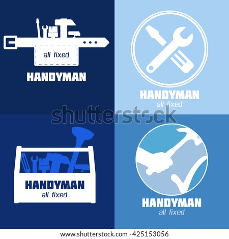 Handyman Business Sign Vector Set. Amenities repair, house hold equipment fixing symbol set. Vector graphics for working tools, fixing, renovation, best quality service concept. Sample text. Editable