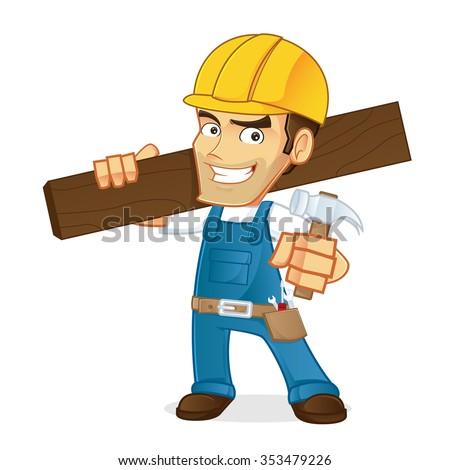 Handyman carrying a wooden board and hammer