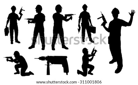 handyman drill on the white background - stock vector