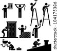 Handyman Electrician Locksmith Contractor Working Fixing Repair House Light Roof Icon Symbol Sign Pictogram - stock