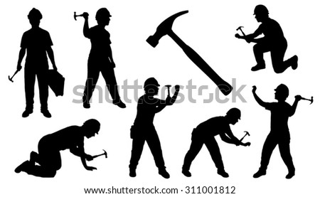 handyman hammer on the white background - stock vector