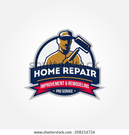 Handyman home repair corporate service badge symbol isolated on white background, vector illustration, symbol looks similar to logo - stock vector
