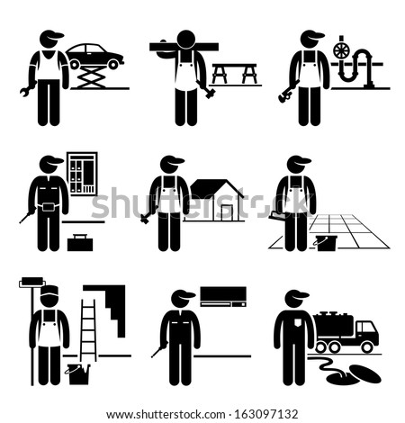 Handyman Labor Labor Skilled Jobs Occupations Careers - Car Mechanic, Carpenter, Plumber, Electrician, Roofer, Flooring, Painter, Air Conditioner Man, Septic Tank Service - Stick Figure Pictogram - stock vector