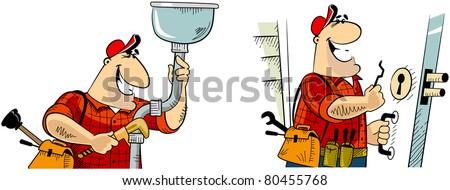 Handyman Plumber Locksmith Series Handyman Cartoon Stock Vector ...