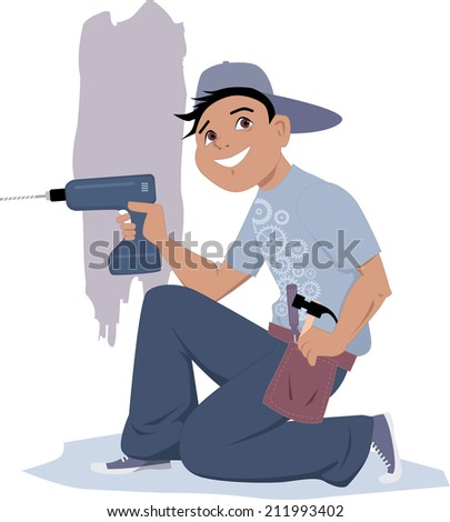 Handyman with an electric drill - stock vector