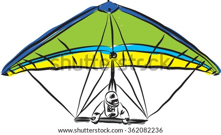 hang gliding illustration - stock vector