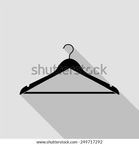 hanger icon - black illustration with long shadow - stock vector