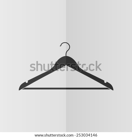 Hanger vector icon. Effect of folded paper. Flat design - stock vector