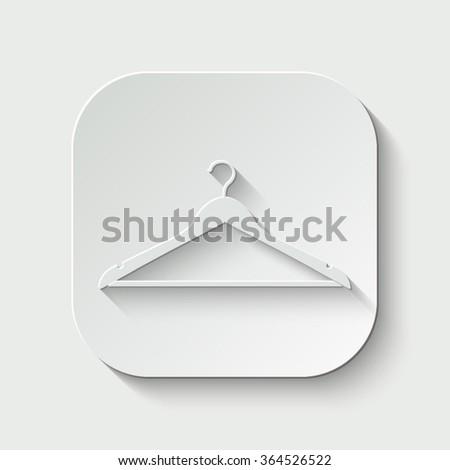 hanger vector icon - paper button - stock vector