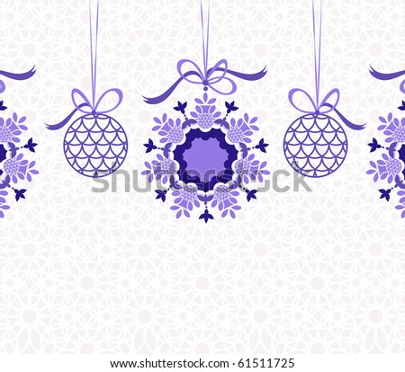 Hanging baubles and snowflakes background pattern - stock vector