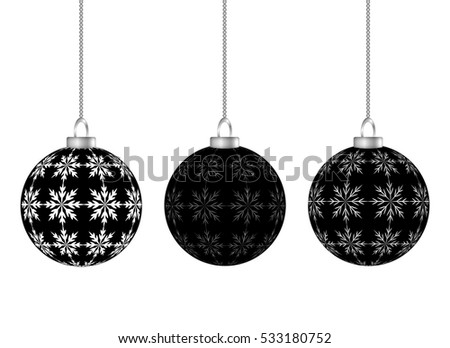 Hanging Christmas Balls Black Stripes Snowflakes Stock Vector ...