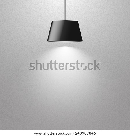 hanging black lamp on gray texture wall - stock vector