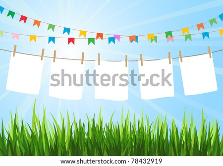 Hanging blank paper on clothesline in field. Sunny day. Festive flags. Blank white space. - stock vector