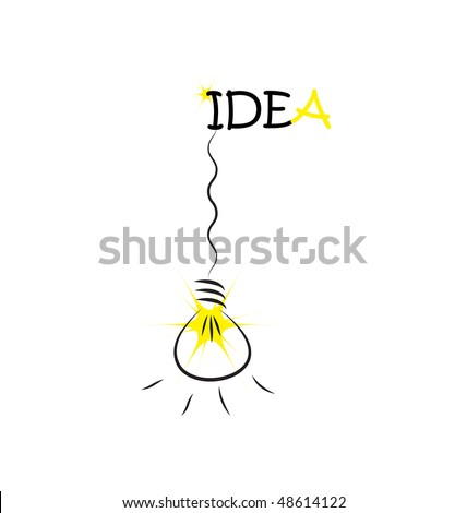 hanging bulb on Idea word - stock vector