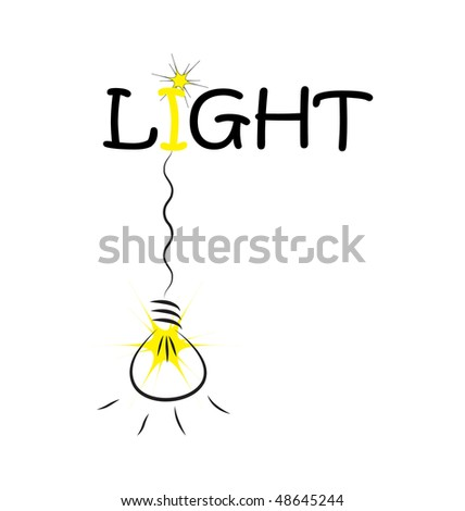 hanging bulb on Light word isolated on white background - stock vector