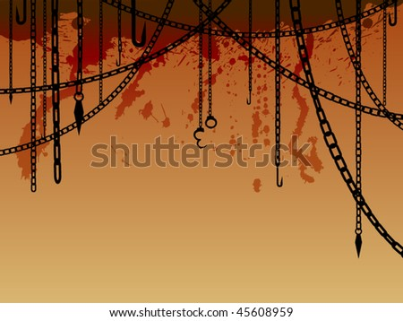 Hanging chains with hooks, shackles and blood splatters - stock vector