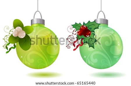 Hanging christmas balls with holly and snowberry decoration - stock vector
