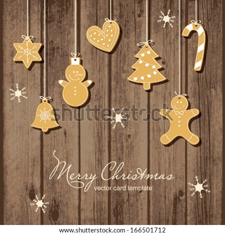 Hanging Christmas Cookies  - stock vector