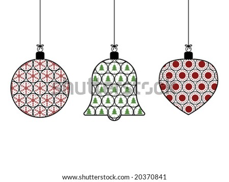 hanging christmas decorations, easily editable for color change - stock vector