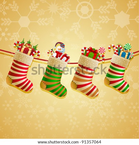 Hanging christmas socks with present. - stock vector