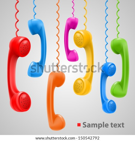 Hanging colored handsets, Phone color set, template design element, Vector illustration - stock vector