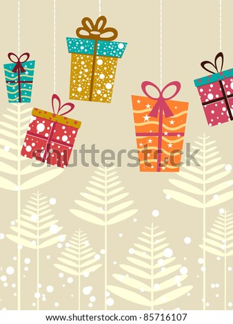 hanging colorful gift box on abstract artwork background for merry xmas - stock vector