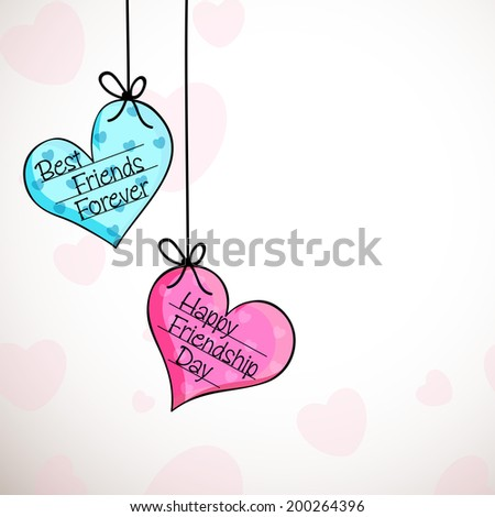 Hanging colorful hearts with stylish text Happy Friendship Day on grey background.  - stock vector
