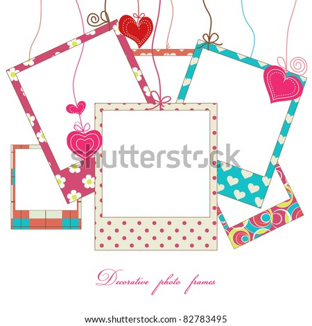 Hanging cute photo frames - stock vector