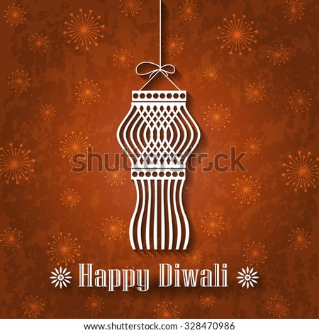 Hanging Diwali Kandil on Grunge Background - stock vector