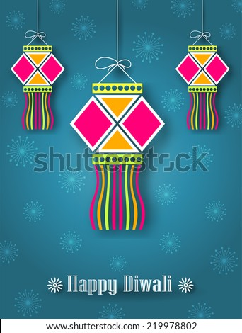Hanging Diwali Lamp (Kandil) - Diwali Festival Background - stock vector