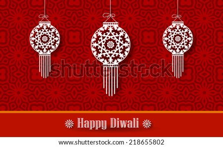 Hanging Diwali Lamp (Kandil) on Decorative Background - Diwali Greetings Design - stock vector