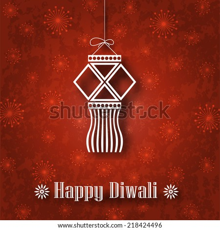 Hanging Diwali Lamp (Kandil) on Grunge Background - stock vector