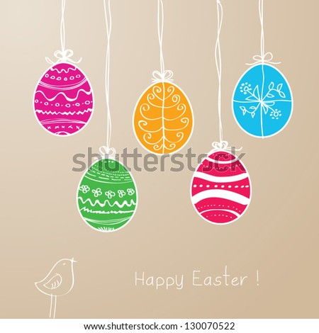 Hanging Easter eggs vector illustration