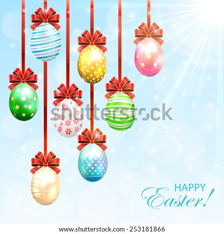 Hanging Easter eggs with bow on sunny background, illustration. - stock vector