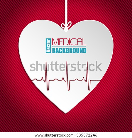 Hanging Ekg heart on striped red background - stock vector