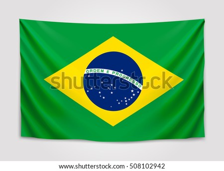 Hanging flag of Brazil. Federative Republic of Brazil. Brazilian national flag concept. Vector illustration.