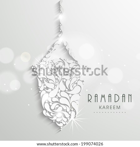 Hanging floral design decorated arabic lantern, creative greeting card design for holy month of Muslim community Ramadan Kareem.  - stock vector