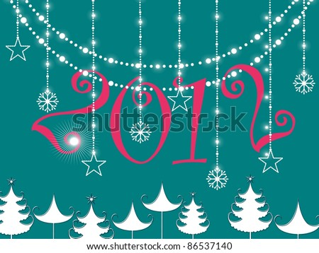 hanging flower & twinkle stars, christmas tree  on green background with pink 2012 text - stock vector