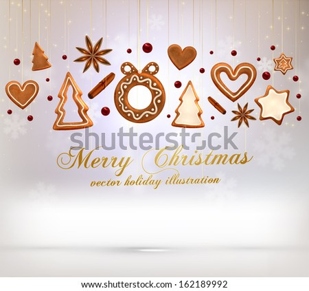Hanging Gingerbread Christmas Cookies for Xmas Decoration. Blur Silver Snowflakes. Vector. - stock vector