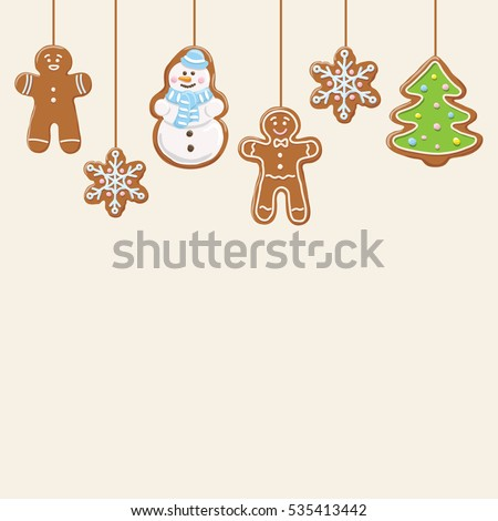 Hanging gingerbread man, tree, snowman and stars cookies isolated on beige color. Christmas background. Vector illustration.