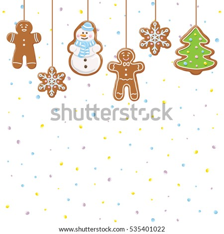 Hanging gingerbread man, tree, snowman and stars cookies isolated on white color with drops. Christmas background. Vector illustration.