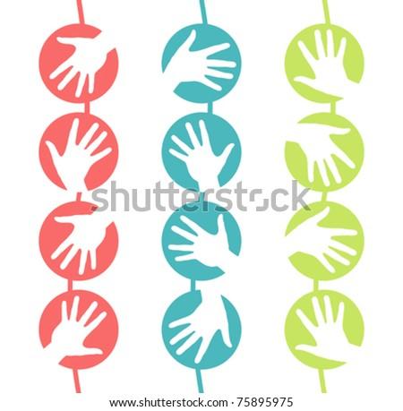 Hanging hand circles design. - stock vector
