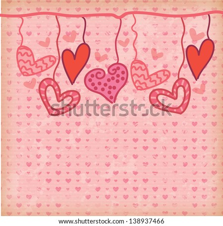 hanging hearts over pink background vector illustration