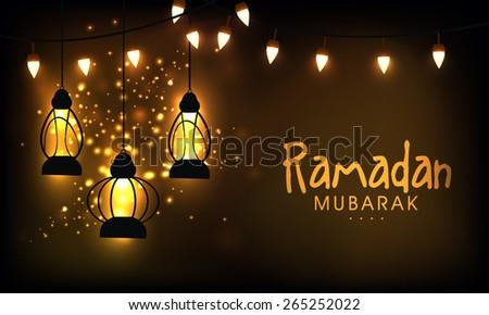 Hanging illuminate lanterns on shiny golden background for the celebration of Islamic holy month of prayers, Ramadan Mubarak.  - stock vector